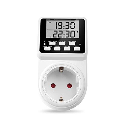 NOVKIT Intervall Digitale Zeitschaltuhr Steckdose mit unendlichem Zyklus, 3 täglichen Programmen...