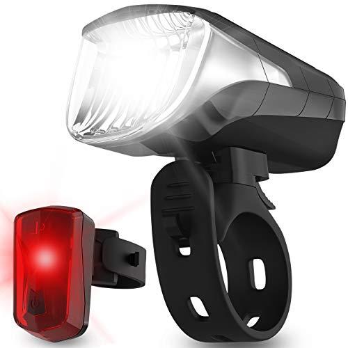Velmia Fahrradlichter Set StVZO zugelassen mit USB Akku-Betrieb und 8,5h Leuchtdauer I LED...