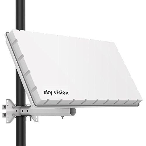 sky vision Flat H39 DS SAT Flachantenne (Flache Satellitenschüssel für 2 Teilnehmer, mit Twin-LNB)...