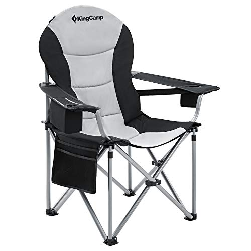 KingCamp Campingstuhl mit Verstellbarer Rückenlehne und Kühltasche bis 160 kg belastbar