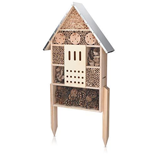 Navaris Insektenhotel aus Holz - Naturbelassenes Insekten Hotel für Verschiedene Fluginsekten - mit...