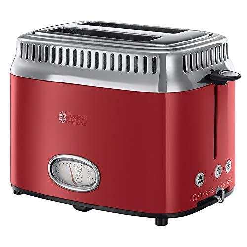 Russell Hobbs Toaster Retro Rot 21680-56 (1300W, Countdown-Anzeige im Retrodesign, Brötchenaufsatz,...