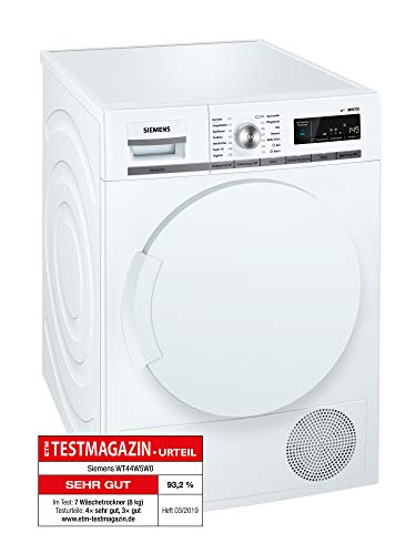 Siemens iQ700 WT44W5W0 iSensoric Premium Wärmepumpentrockner / A+++ / 8 kg / Großes Display mit...