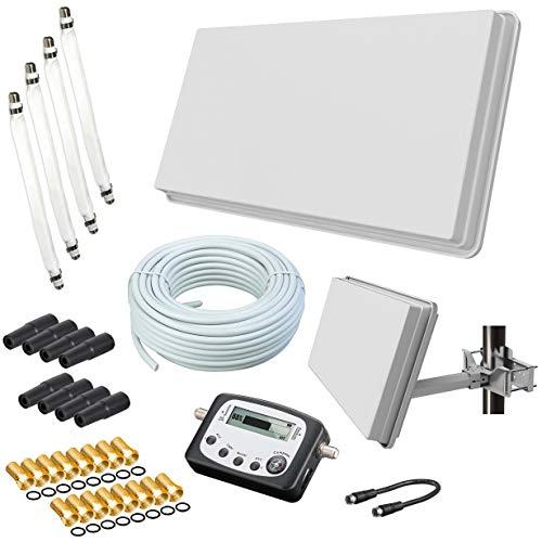 Selfsat H30D4+ Flachantenne Quad + 50m Kabel + Fensterhalterung + SAT-Finder + 4...