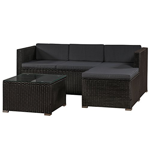ArtLife Polyrattan Lounge Punta Cana M schwarz – Gartenlounge Set für 3-4 Personen –...