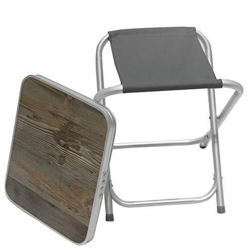 Homecall Camping-Klapphocker aus Aluminium mit MDF-Platte - (Grau)