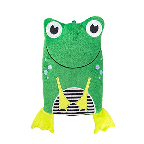 "Hugo Frosch Kinder Öko-Wärmflasche 0,8 L mit""Frosch"" Veloursbezug grün"