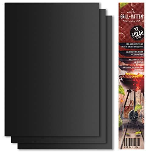 BeeClean BeeProducts Grillmatte (3er Set) 40x50 cm Extra Groß Zum Grillen und Backen