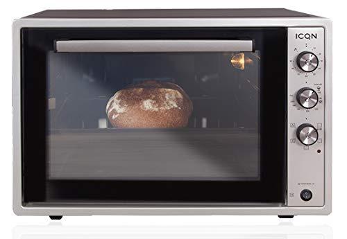 ICQN 60 Liter XXL Minibackofen | 1800 W | Umluft | Pizza-Ofen | Doppelverglasung | Drehspieß |...