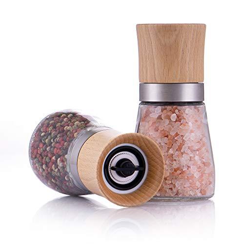 Zolmer® Gewürzmühle 2er Set mit verstellbarem Keramikmahlwerk - Edle Salzmühle & Pfeffermühle...