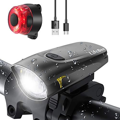 LIFEBEE LED Fahrradlicht, USB Fahrradbeleuchtung Fahrradlicht Vorne Rücklicht Set, Wasserdicht...