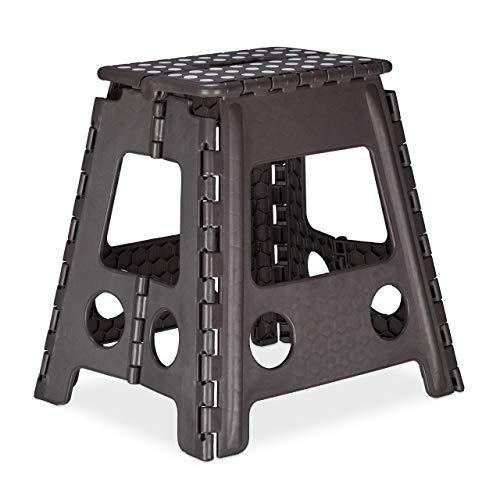 Relaxdays Klapphocker XL, tragbar, großer Badhocker, faltbarer Sitzhocker, bis 120 kg, Kunststoff,...