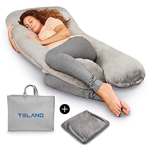 TELANO Premium XXL Schwangerschaftskissen Zweiter Bezug und Luxuriöse Aufbewahrungstasche Enthalten...
