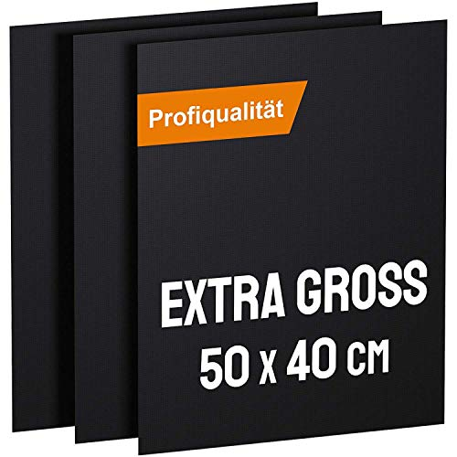 KOMOTO® BBQ Grillmatte (3er Set) 50x40 cm I Extra Dick I Grillmatten für Gasgrill und Holzkohle I...