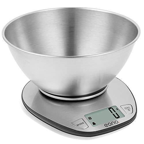 Eono by Amazon - Digitale Küchenwaage, Edelstahl-Kochwaage mit Abnehmbarer Schüssel zum Backen und...