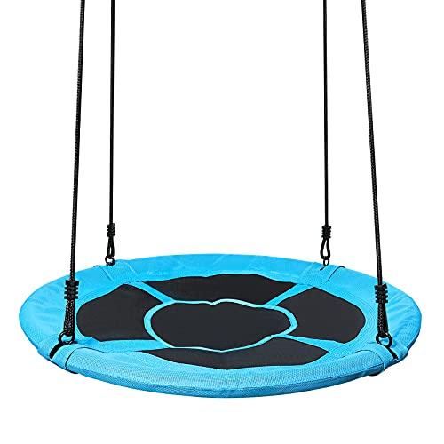 Yorbay Nestschaukel Tellerschaukel Kinder Rundschaukel Outdoor Ø 120 cm, Blau, kein verbleichen,...