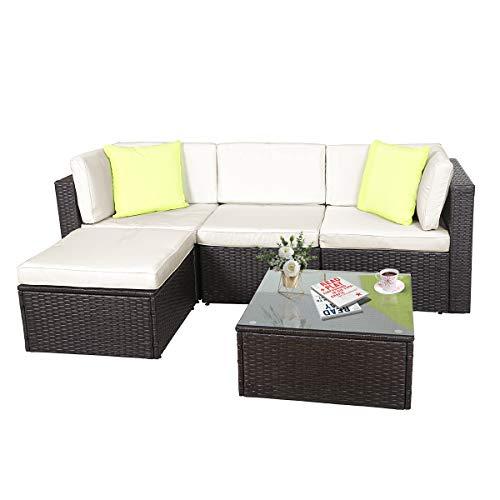 GOJOOASIS Polyratten Lounge, 5 Teilig Sitzgruppe, 200cm Gartenmöbel Garnitur für 3-4 Personen,...
