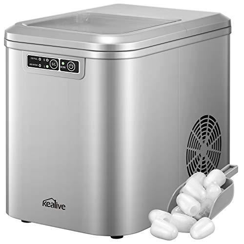 Eiswürfelmaschine 2.2L, 13kg(28lbs) Eis pro Tag, Zubereitung in 6-8 Minuten, 2 Eiswürfel-Größen,...