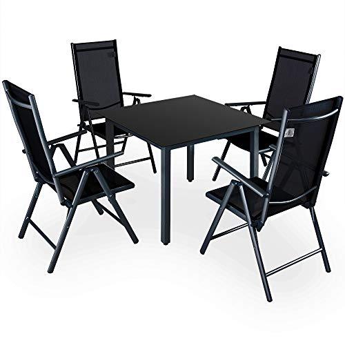Deuba Sitzgruppe Bern 4+1 Aluminium 7-Fach verstellbare Hochlehner Stühle Tisch mit Sicherheitsglas...