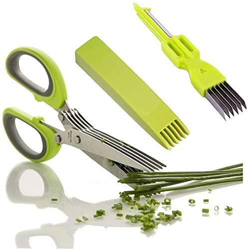 Kräuterschere Küchenschere Edelstahl Scissors Herb mit 5 Klingen,Kräuter Schere Cutter Klinge...