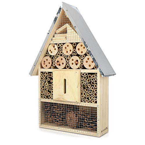 Navaris Insektenhotel aus Holz - Naturbelassenes Insekten Hotel für Fluginsekten - für Bienen...