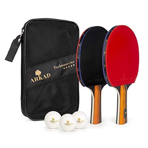 Arkad Tischtennis Set • 2 Tischtennisschläger + 3 Premium Bälle • Tischtennis Schläger Set...