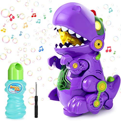 joylink Seifenblasenmaschine, Blasenmaschine mit Musik & Licht, Dinosaur Automatische Seifenblasen...