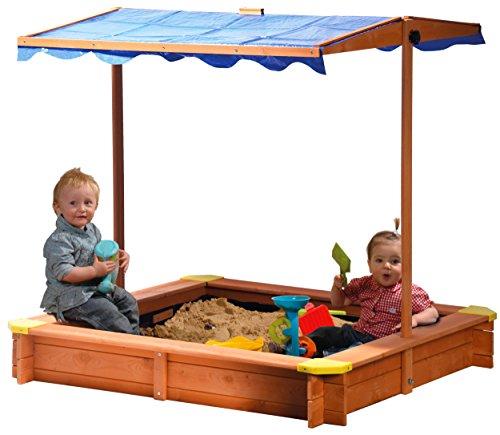 dobar 94350FSC - Sandkasten aus FSC-Holz, Dach höhenverstellbar und neigbar mit UV 801-Schutz...
