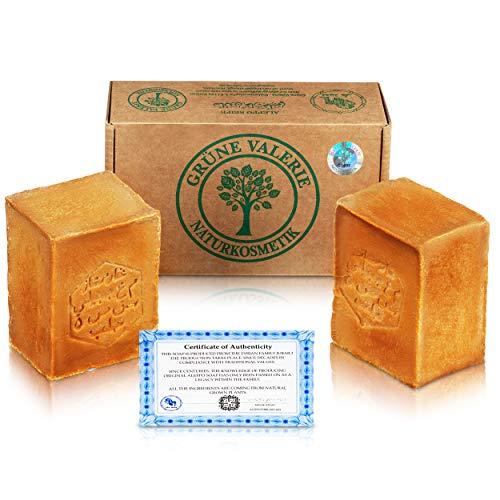 Grüne Valerie® Original Aleppo Seife Set 2 x 200g (400g) mit 20%/80% Lorbeeröl/Olivenöl, PH Wert...