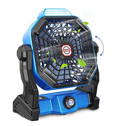 Tesoky Leise Ventilator 30dB Klein Tischventilator 270° Rotieren Wiederaufladbar USB LED Licht...