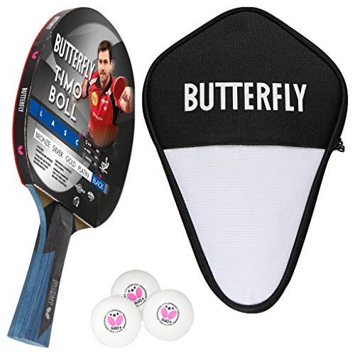 Butterfly Timo Boll Black Tischtennisschläger + Tischtennishülle + 3*** ITTF G40+...