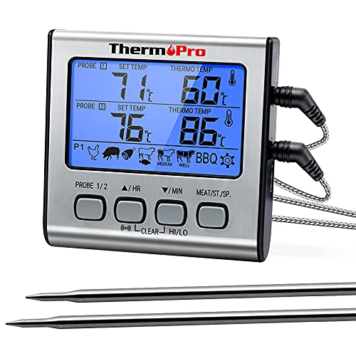 ThermoPro TP17 Digitales Grill-Thermometer Bratenthermometer Fleischthermometer Ofenthermometer mit...