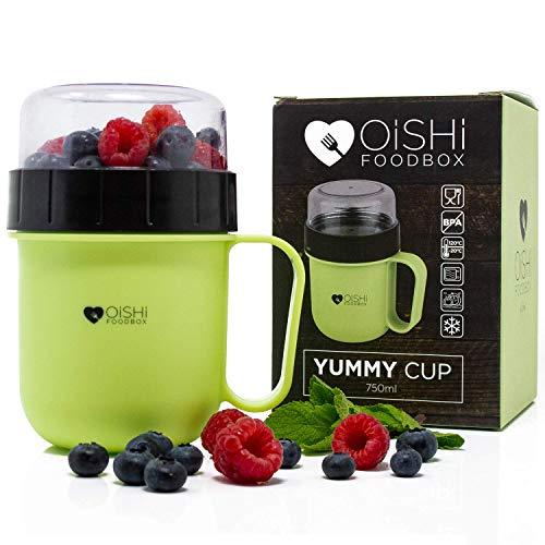 OISHI LUNCHPOT YUMMY CUP - Joghurt Salat Müsli Becher 750ml - Auslaufsicher - Extra-Fach für Obst...
