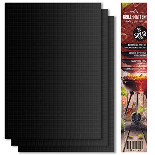 BeeClean Premium BBQ Grillmatte 3er Set – 50 x 40 cm – Hochwertige Grillmatte für Gasgrill –...