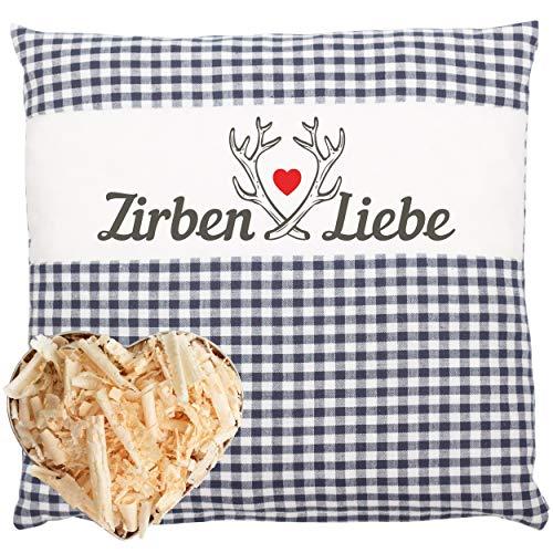 Herbalind Zirbenkissen Dekokissen Zirbenliebe Zirben Kissen mit Reißverschluss 25x25 cm - Tiroler...