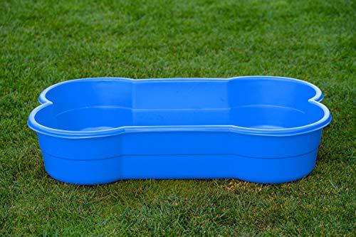 DogsLand Hundepool in Knochenform - 120 cm, blau, für große und kleine Hunde, biss- und...