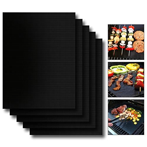 EXTSUD BBQ Grillmatten, 5er Set BBQ Antihaft Grill-und Backmatte Wiederverwendbar PFOA-Frei - Toll...