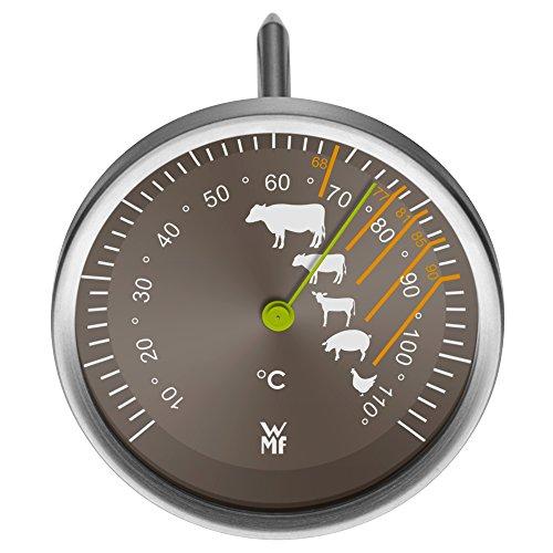 WMF Fleischthermometer analog 6,3 cm, Bratenthermometer mit Garpunkte-Markierungen für Steak Rind...